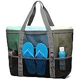 Mesh Beach Bag, Cambond Oversized Beach Tote Bag 9 Pockets Beach Toy Bag, Large (Grey)