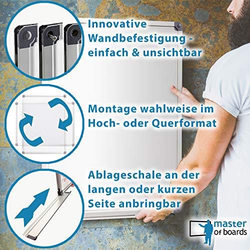 MOB Whiteboard – Sieger Preis-Leistung (Note 1,4) – 13 Größen – magnetisch und beschreibbar – Magnettafel Magnetwand – mit Aluminium-Rahmen, Stiftablage – für Hoch- und Querformat – 90 x 120 cm - 4