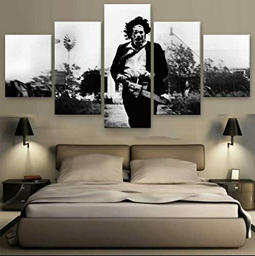 37Tdfc 5 Teiliges Leinwandbilder stück Kunstdruck wandbilder Wohnzimmer Schlafzimmer modern Wand Aufhängen Home Dekoration Bild Design HD Panel Mit Holzrahmen Texas Kettensägen Massaker