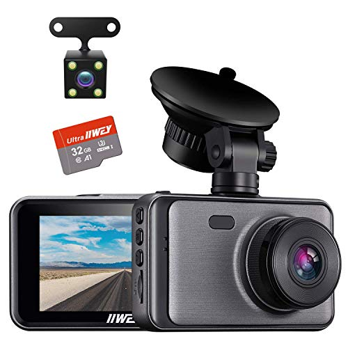 Dash Cam for Cars Front and Rear 【SD Card Included】Dual Cameras FHD 1080P with Night Vision, 3 inches...