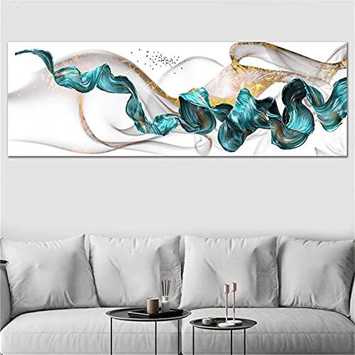 DIY 5D Large Diamond Painting Cinta Azul Dorada Kits de Perforación Completos Rhinestone Picture Art Craft para decoración de la Pared del hogar 50x100cm Square Drill