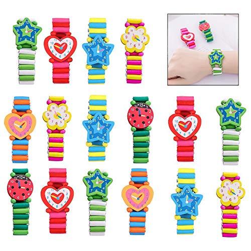 iPobie Kinder Holzuhr Set, Holz Armbanduhr Spielzeug Für Kinder Lernen Kinder Geschenk 20 Stück
