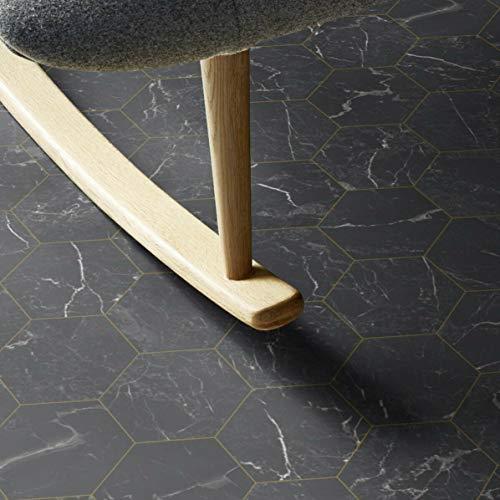 PVC Bodenbelag Fliese Marmor Schwarz Tarkett 260D Hexagon Gold (Breite: 200 cm x Länge: 250 cm)