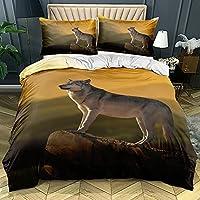3d白い寝具デザイン動物の羽毛布団カバーセットオオカミのベッドリネン枕ケースキングクイーンスーパーキングツインフルサイズ 200×200CM