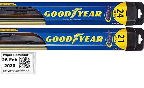 Hybrid - Windshield Wiper Blade Set/Kit/Bundle for 2011-2017 Dodge Charger - Driver & Passenger Blades & Reminder Sticker