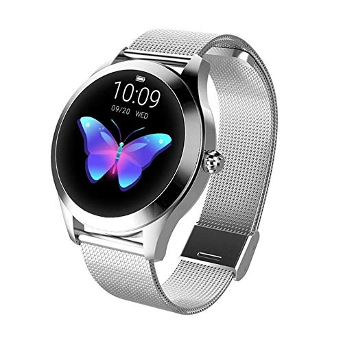 Tondo IP68 impermeabile touchscreen intelligente orologio for donna, SmartWatch KW10, inseguitore fitness con frequenza cardiaca e bracciale contapassi sonno for IOS Android (Color : Silver)