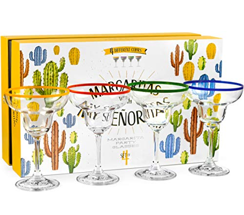 10 oz Margarita Cocktail Glasses + Colorful Party Rims   Set of 4   Classic Frozen Drinks Stemware + Fun Cactus Gift Box   Thick Stem, Heavy Duty, Clear Hand Blown Glassware Drinking Set