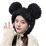 YOYHX Sombrero de piel sintética mullida para mujer, con orejas de espíritu, disfraz de gato, Negro, Talla única