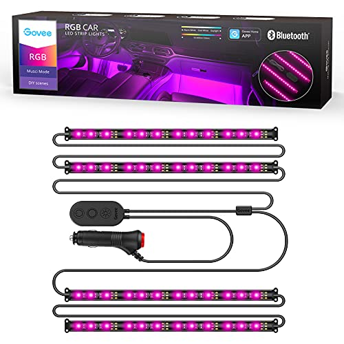 Govee Interior Car Lights, LED Car Strip Lights with 2 Lines Waterproof Design, 48 LEDs App Control...