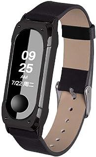 XIHAMA For Xiaomi Miband4 / Miband3 高級感レザー バンド 牛革製 替えベルト スマートウォッチ ストラップ 腕時計 ブレスレット (ブラック)