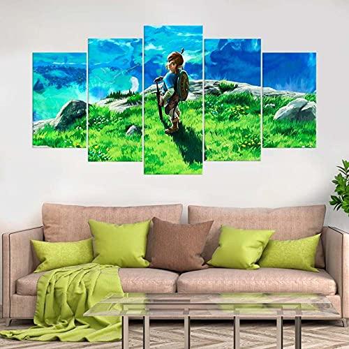 Cuadros Modernos Impresión de Imagen Artística Digitalizada niño Paisaje de montaña Lienzo Decorativo para Tu Salón o Dormitorio 5 Piezas 150 x 80cm con Marco
