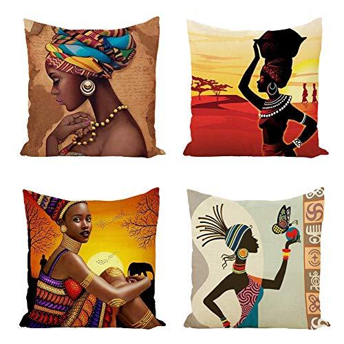 RABUIT Afrikanischer Indianer Stil Urlaub Wurfkissenbezüge 45,7 x 45,7 cm 4 Stück Muster Kissenbezüge Dekorative Wurfkissen für Sofa Bett Stuhl (Afrikanische Bräute) 4 Stück