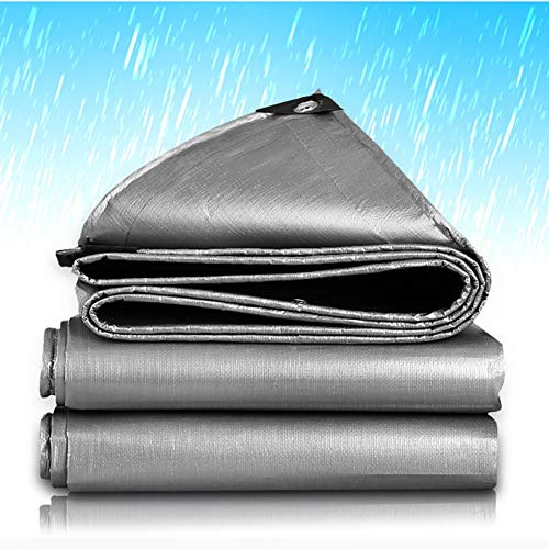 WXQIANG Waterproof Tarpaulin Plastic Tarp with Grommets, Tent Shelter Cover for Roof Camping Patio, Rainproof Sunscreen, Silver (Size : 5×6m)