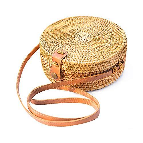 PKKJ Bolsa de ratã de tecido redondo para mulheres, bolsa de palha transversal praia boemian de couro natural chique