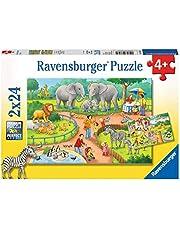 Ravensburger 78134 Puzzel Een Dag In De Dierentuin - Twee Puzzels - 24 Stukjes - Kinderpuzzel