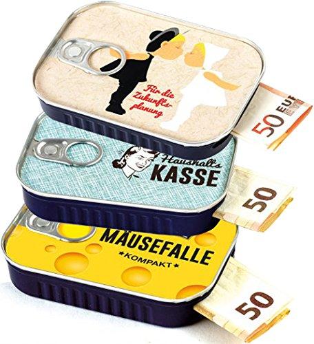 """Caja de sardina para regalos de dinero """"MIX 1"""", incluye pegatina para mensaje individual, ideal para bodas, confirmaciones, mudanzas o como vales de dinero, fabricado por Scherzboutique"""