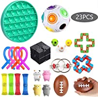 Sensory Fidget Toys Set 17 Pack - Stress Relief for Kids Student Adults, Stress Balls/Soy Squeeze/Flippy Chain/Bungee...