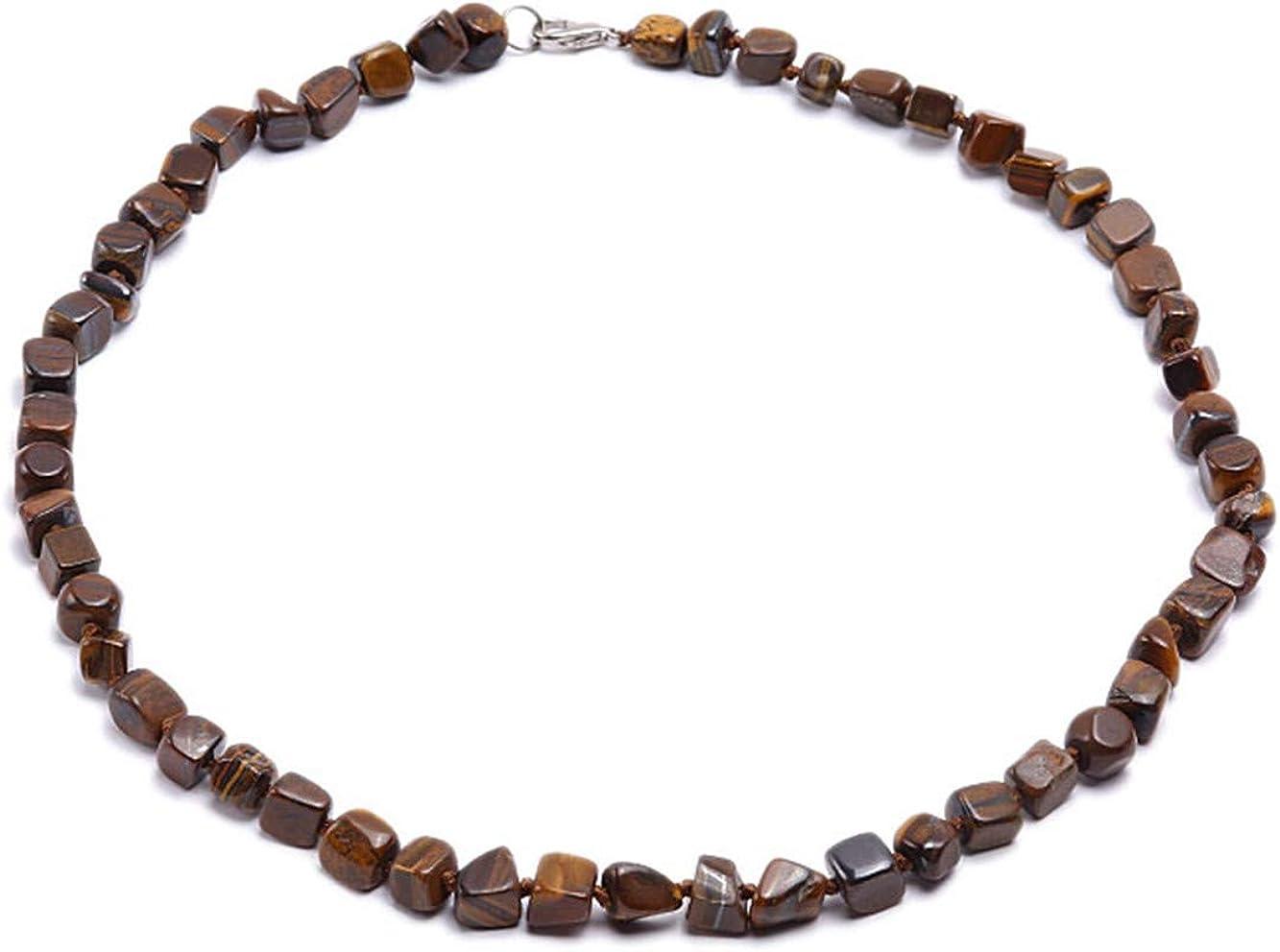 JYXJEWELRY Men Women 7x9mm Irregular Tiger Eye Stone Necklace Single Strand Necklace 23