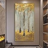 BailongXiao Nordic Modern Abstract Art Rich Golden Tree Poster Lienzo Pintura Arte de la Pared Sala de Estar decoración del hogar,Pintura sin Marco,30x60cm