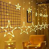 Luces de Cortina de Navidad, 12 Estrellas 138 LEDs Luces de Cadena de Estrellas con 6 Ganchos, IP54 Impermeable Luces Cortina Estrellas, Luces de Navidad para Ventana Jardín, Bodas, Navidad Decoracion