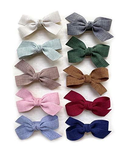Baby Girls Hair Bow Clips, Boutique Ribbon Lined Alligator Clips Barrettes for Infants Toddlers