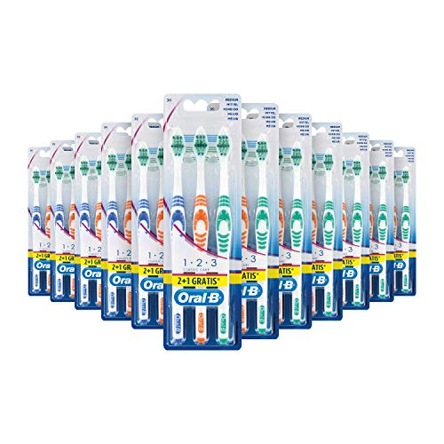 Oral-B 1,2,3 Classic Care Zahnbürste, 35 mittel, 2+1 Pack, Sortiert, 12er Pack (12 x 3 Stück)