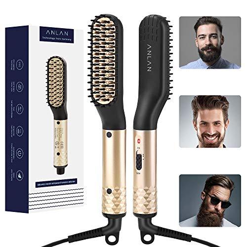 ANLAN Cepillo Alisador de Barba Plancha de Pelo Flequillo Eléctrico Profesional Peine de Peluquería Multifuncional Cepillo para Hombre Muj