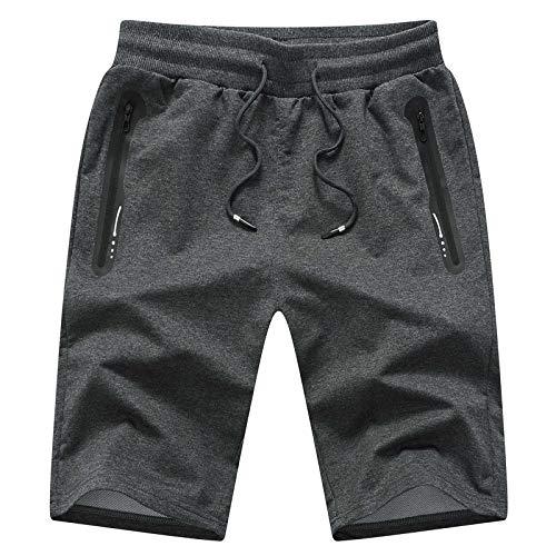 JustSun Kurze Hosen Herren Shorts Sommer Jogginghose Kurz Baumwolle Gym Sweat Sport Fitness Shorts Herren Reißverschluss Taschen Grau M