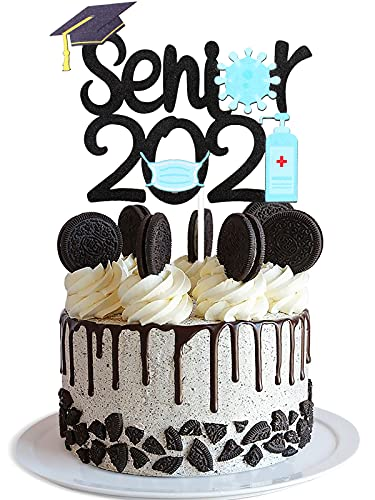 Senior 2021 Quarantine Graduation Cake Topper - Class Of 2021 Black Glitter Grad Cap Sanitizer Décor - Congrats High School College Graduate Party Decoration