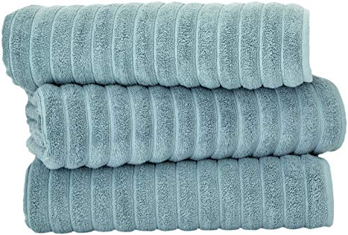 Classic Turkish Towels - 3 Piece Luxury Ribbed Bath Sheets Towels - 40 x 65 Inches - 100% Turkish Cotton, Thick and Super Absorbent Extra Large Bath Towels, Spa Green