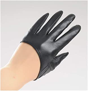 SHENTIANWEI Women's Leather Gloves Thin Lace Sunscreen Backless Leather Touch Screen Gloves (Color : Black, Size : S)