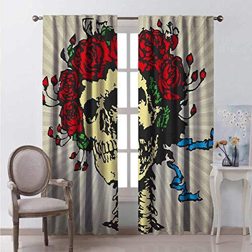 Toopeek Rose - Cortina de color resistente al desgaste, diseño de calavera gráfica en flores rojas, diseño de corona de Halloween, tela impermeable de 54 x 95 pulgadas, color beige, multicolor