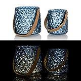 2er Set Windlicht aus Glas mit LED-Lichterkette inkl. Timer und Lederhenkel (Royalblau)
