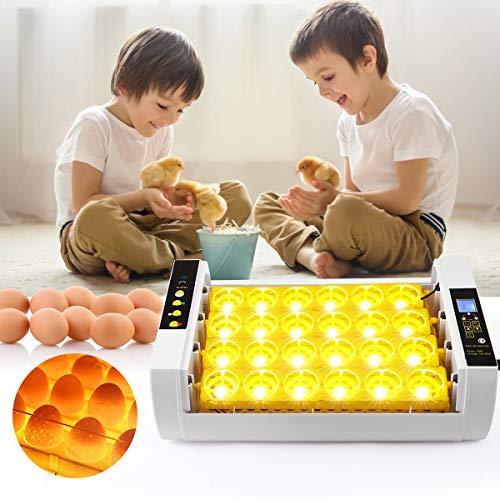S SMAUTOP Incubadora de Huevos, Incubadora Automática con Giro y Eclosión Automáticos con Control de Temperatura y Pantalla LED, Máquina Incubadora de 24 Huevos con Iluminación Incorporada Función