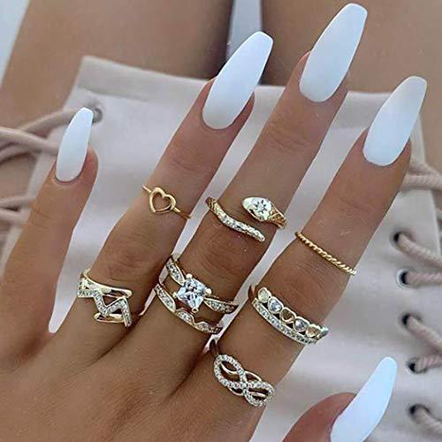 Edary Anillo vintage con forma de corazón de cristal para los nudillos, juego de ocho anillos de diamantes de imitación dorados para mujeres y niñas (8 piezas)