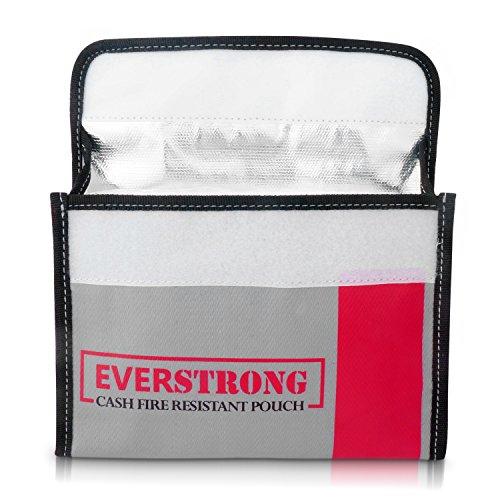 Fire Resistant Cash Box Document Bag 9 x 6 x 1.5 Heavy Duty Fiberglass - Retardant Thread - Fireproof Bag/Bank File/Important Document Holder - Retardant Envelope Heat Protection