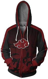 e154e6b650 Hibuyer 3D Printing Naruto Akatsuki Cloud Zip up Hoodie Sweatshirt Jacket  Cosplay Costume Unisex