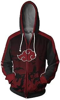 3D Printing Naruto Akatsuki Cloud Zip up Hoodie Sweatshirt Jacket Cosplay Costume Unisex