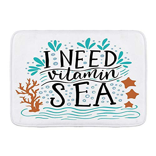DECISAIYA Alfombra de Baño Necesito Vitamina Cita inspiradora del mar Dibujado a Mano con Olas de Coral Estrellas de mar Burbujas Antideslizante Tapete de Piso para Ducha,Cocina,Baño