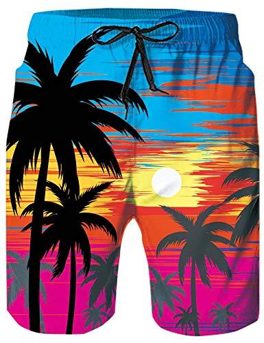 Loveternal Badehose für Herren Boardshorts Schnell Trocknend Outdoor Shorts Drucken wasserdichte Sporthose Badeanzug Badehose L