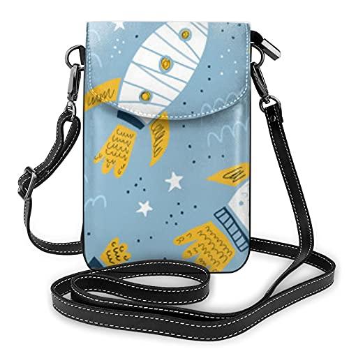 Patrón dibujado a mano cohete señoras cartera bolsa de teléfono móvil mini bolso de hombro con correa de hombro monedero titular de la tarjeta