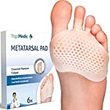 Metatarsal Pads for Women and Men [6 pc] by YogaMedic - Gel Pads, 0%-BPA Foot Cushion Foot Pads for Metatarsalgia Neuroma Mortons