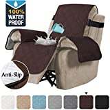 H.VERSAILTEX 100% Waterproof Quilted Recliner Chair Cover Recliner Cover Recliner Slipcover for Living Room, Secure with Elastic Strap and Non Slip Puppy Paw Silicone Backing (Standard, Brown)