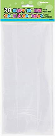 Unique Party 62008 - Cellophane Clear Party Bags, Pack of 30
