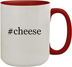 #cheese - 15oz Hashtag Colored Inner & Handle Ceramic Coffee Mug, Red