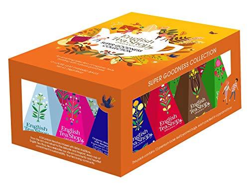 English Tea Shop Sortiment an Tee und Kräutertees mit Fruchtaromen und Gewürzen in Geschenkbox - 1 x 12 Teepyramiden (24 Gramm)