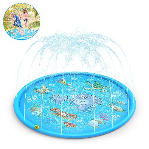 CestMall Sprinkle und Splash Spielmatte 170cm Kid Sprinkler Pad Tragbare Outdoor Wasserspiel Sprinkler Aufblasbare Splash Spielmatte, Sommer Essential Spray Spielzeug für Kinder und Outdoor