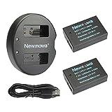 Newmowa LP-E17 Batería de Repuesto (2-Pack) y Kit de Cargador Doble para Micro USB portátil para Canon EOS M3 M5 M6 200D 250D 750D 760D 800D Rebel SL3 T6i T6s 8000D Kiss X8i