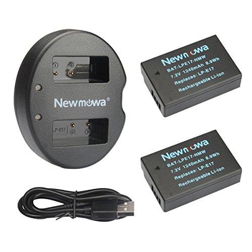 Newmowa LP-E17 Batteria (confezione da 2) e Doppio Caricatore USB per Canon EOS M3 M5 M6 200D 250D 750D 760D 800D Rebel SL3 T6i T6s 8000D Kiss X8i