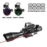 Pinty 4-12x50 EG Hunting Rifle Scope Rangefinder Optics Combo with Tactical Holographic Reflex